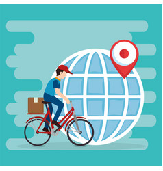 delivery worker in bicycle character vector image