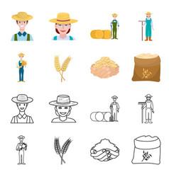 Design farm and arable logo set farm vector