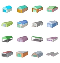 Different hangars icons set cartoon style vector