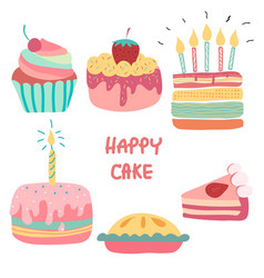 Doodle hand drawn rainbow cute birthday cake vector
