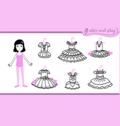 Dress up paper doll with ballet tutus vector