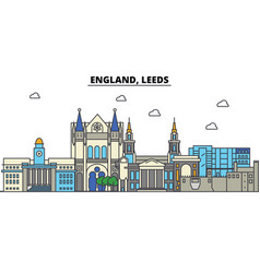 england leeds city skyline architecture vector image