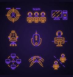 Esports neon light icons set vector