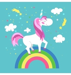 Fairy unicorn with rainbow vector