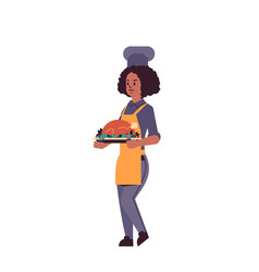 female professional chef cook holding tray vector image