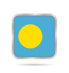 Flag of palau shiny metallic gray square button vector