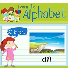 Flashcard letter C is for cliff vector image