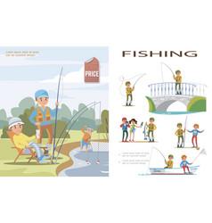 flat fishing template vector image