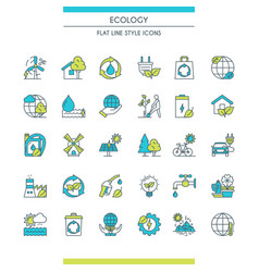 flat line design ecology icons vector image vector image