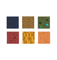 flat set of 6 textures and materials for vector image