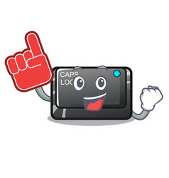 Foam finger capslock button isolated with the vector