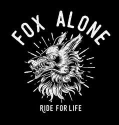 Fox alone roker tattoo head vintage vector