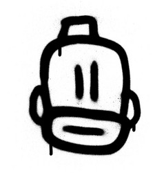 Graffiti bearded emoji with a fez in black vector
