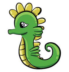Green seahorse on white background vector