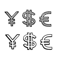 Hand draw doodle sketch money icon dollar euro vector