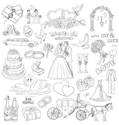 hand drawn collection decorative wedding design vector image