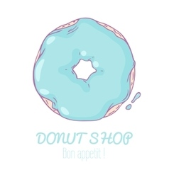 Hand drawn donut isolated Sweet pastry doodle vector image
