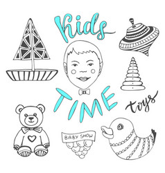 Hand drawn kids toys with boy and lettering - vector