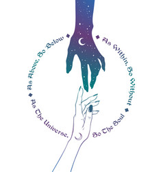 Hand of universe reaching out to human hand vector