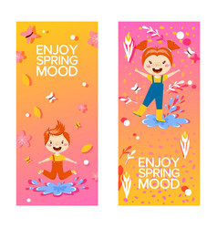Happy children enjoying spring vertical banners vector