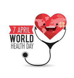 Happy heart with stethoscope to health day vector