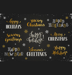 Happy holidays phrases vector