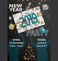 happy new year party 2019 card for your design vector image