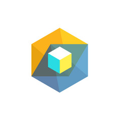 hexagon color vector image
