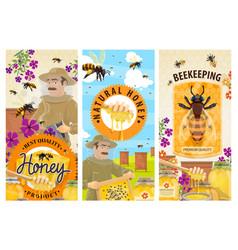 Honey bee hive beekeeper banners beekeeping vector