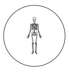 Human skeleton icon black color in round circle vector