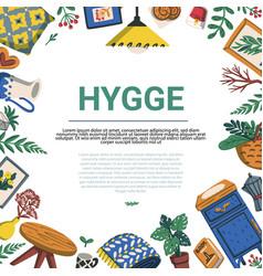 Hygge scandinavian lifestyle frame template vector
