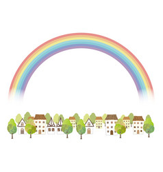 Idyllic watercolor townscape with a rainbow vector
