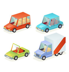 isometric car vehicle transport icons set design vector image