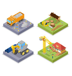 isometric construction industry industrial crane vector image