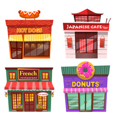 japanese cafe donuts and french restaurant set vector image