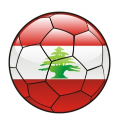 Lebanon flag on soccer ball vector