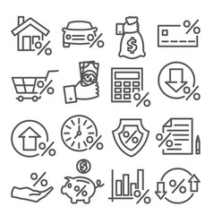 loan and credit line icons on white background vector image