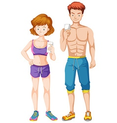 Man and woman with firm body holding cell phone vector image