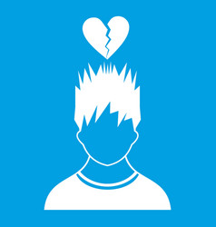 Man with broken red heart over head icon white vector