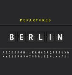 Mechanical airport flip board font with flight vector
