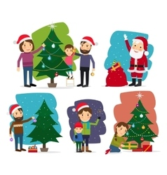 Merry Christmas Decorating the Christmas tree vector image