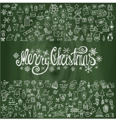Merry Christmas greeting cardLinear icons vector