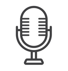 Microphone line icon studio and sound vector