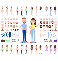 modern male and female characters constructors vector image