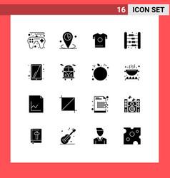 Modern set 16 solid glyphs pictograph ipad vector
