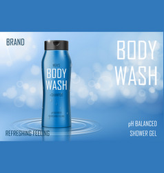 moisture cooling body wash gel ad realistic body vector image