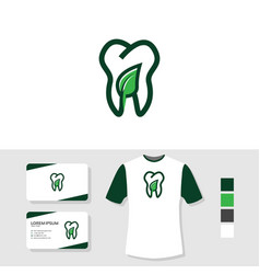 Nature dental logo design with business card vector