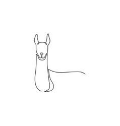One continuous line drawing cute elegant llama vector