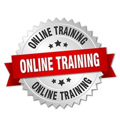 Online training 3d silver badge with red ribbon vector