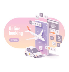 online travel planning and booking concept vector image